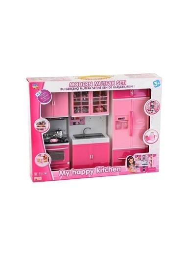 Kayyum Oyuncak Işıklı Sesli 3Lü Buzdolaplı Kapılı Modern Oyuncak Mutfak Seti Renkli